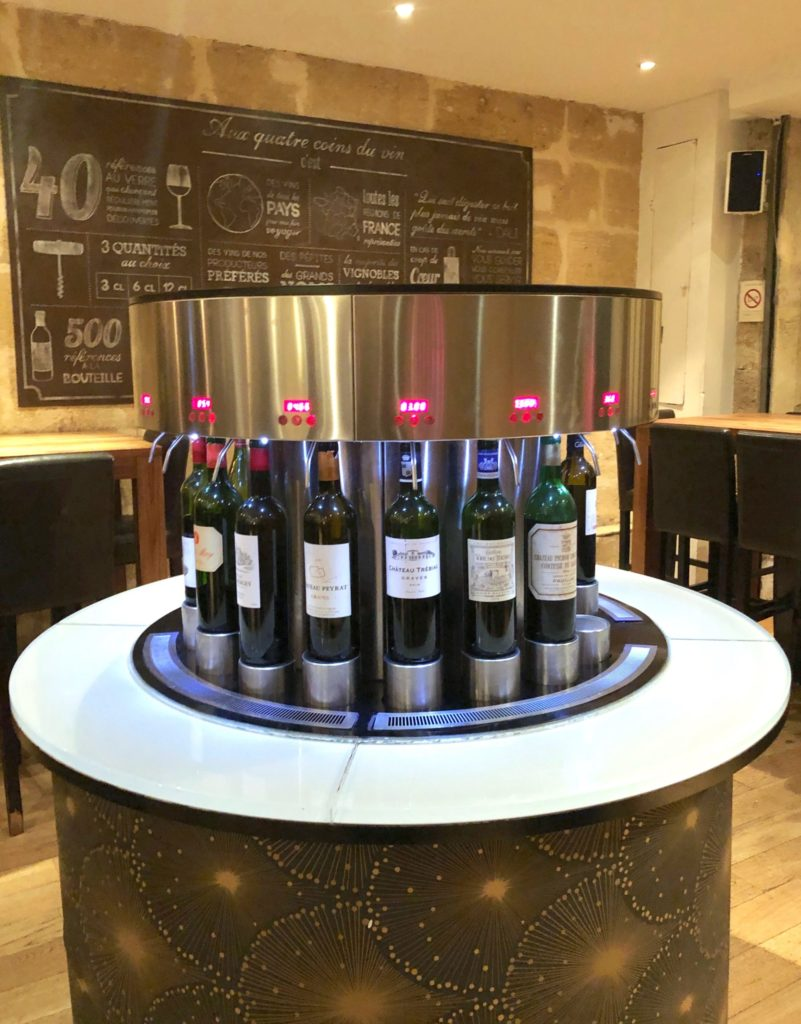 Bottles of wine with digital dispenser